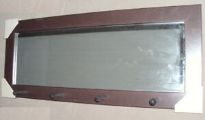 Entryway Wall Mirror with 4  Peg  Hooks
