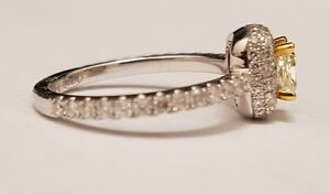 18K white gold fancy light yellow gold diamond engagement ring Oakville / Halton Region Toronto (GTA) image 2