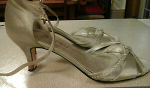 Silver with rinestones satin shoe