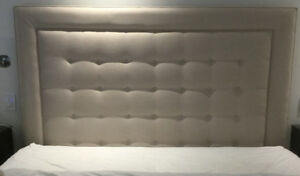 Custom upholstered bed neutral fabric