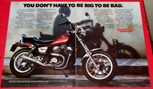 SWEET 1983 HONDA SHADOW 500 MOTORCYCLE AD - RETRO BIKE 80S