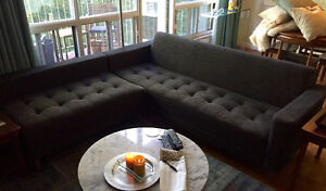 Mid-century modern bi-sectional sofa