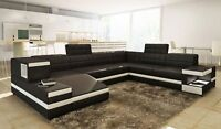 Modern Black Leather Sectional Sofa w/Light + Storage!