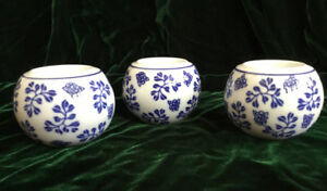 Set of 3 Blue & White Tealight Holders