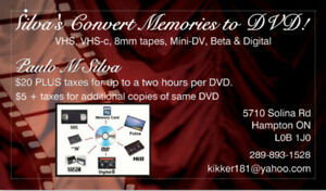 VHS, VHS-c, 8mm, Mini-DV, Beta & Digital to DVD Transferring