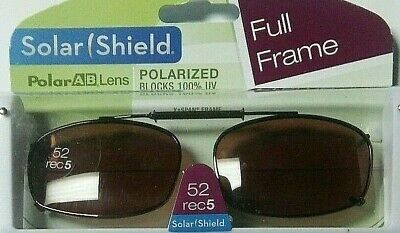 FOSTER GRANT SOLAR SHIELD CLIP-ON BROWN POLARIZED SUNGLASSES 52 RECTANGULAR (Sunglasses Clip Ons)