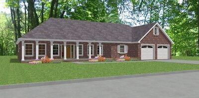 Custom House Home Building Plans 3 bed Bonus Rm Ranch 2217sf PDF FULL PERMIT SET