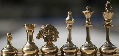 CHESSNCRAFTS BRASS CAVALARY STAUNTON CHESS PIECES SET- KING 3.75