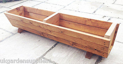 130cm Heavy Duty Wooden Garden Planter - Wood Planter Trough - Container - Pot