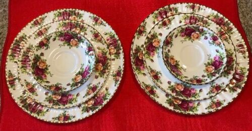 Royal Albert Old Country Roses Bone China England 3-Piece Place Settings EUC
