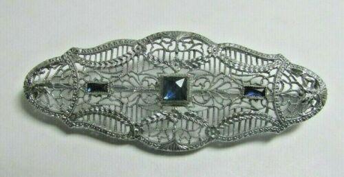 Vintage OSTBY BARTON OB Art Deco Sterling Silver Blue Rhinestone Filigree Pin