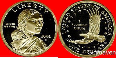 2001 S Sacagawea Dollar Deep Cameo Gem Proof No Reserve - $3.99