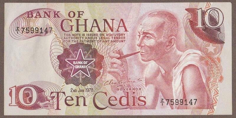 1978 GHANA 10 CEDI NOTE UNC