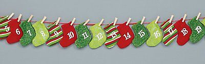 Christmas Stockings fabric advent Calendar Garland with Pockets for treats