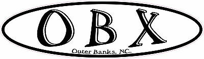 Outer Banks North Carolina OBX LONG OVAL EURO VINYL STICKER DECAL