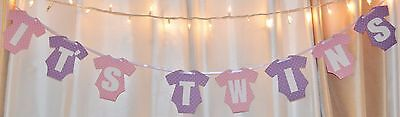 it's twins girl baby shower purple/ pink hanging clothing banner (Twins Party Supplies)