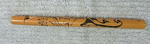 """Bamboo Wood 8"""" Asian Dragon Old Handmade Japan Flute Music Instrument FREE S/H"""