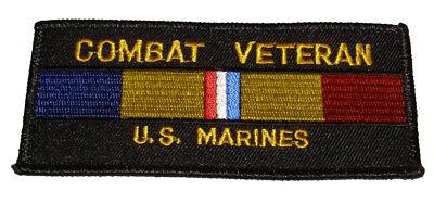 Action Patch (USMC MARINE CORPS COMBAT VETERAN  W/ COMBAT ACTION RIBBON PATCH )