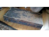vintage wood large tool box and old tools