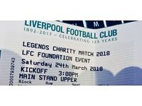 2 Tickets for Liverpool Legends Charity Match - Saturday 24th of March