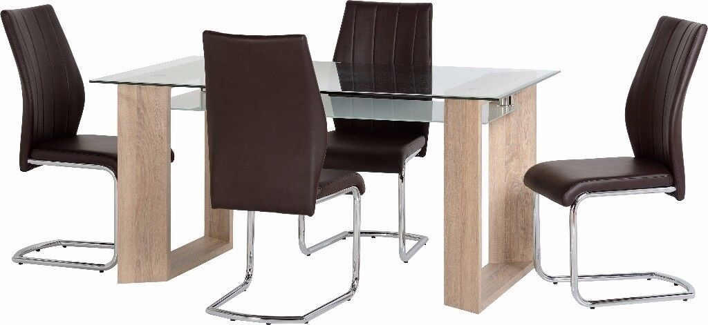 New Milan Glass Dining Table & 4 chairs only £359 IN STOCK NOW GET YOURS TODAY