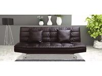 BRAND NEW STYLISH BONDED LEATHER SOFA BED WITH CHROME SILVER LEGS , SOFABED IN BLACK/BROWN