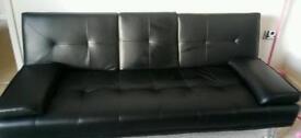 Cinema sofa bed faux black leather