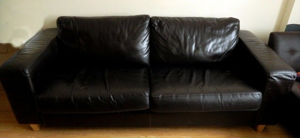 Leather sofa large sit up four brown real leather