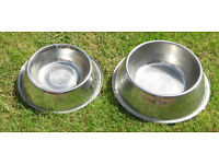 Two Metal Dog bowls