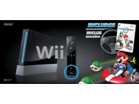 NINTENDO WII BLACK WITH BOX 35POUNDS TODAY