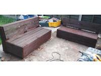 Custom built garden benches