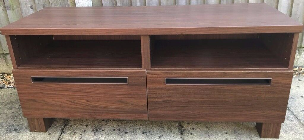 Walnut effect TV table with drawers