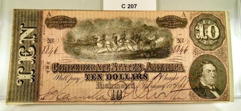 1864 $10 TEN DOLLAR CONFEDERATE CURRENCY NOTE T-68  #C207