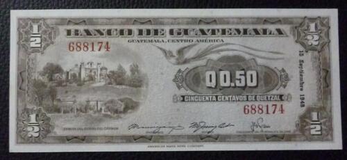 GUATEMALA BANKNOTE 50 Centavos de Quetzal, P.23  UNC 1948