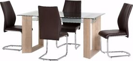 New Milan Glass Dining Table & 4 chairs only £359 IN STOCK TODAY