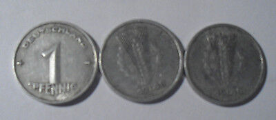 DDR 1 Pfennig Münzen Prägedatum 1948 -  3 Stück im Set