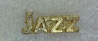 High School Marching Jazz Band Music Letterman Letter Jacket Pin gold tone