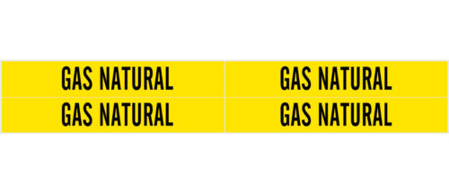 "4 GAS NATURAL Pipe Warning Marker Yellow ADHESIVE STICKERS 7""x1 1/8"" BRADY 83553"
