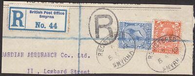 GB used Levant 1919 KGV 2d 2½d Used Smyrna Postmark Reg Piece SG Z285 SG Z287