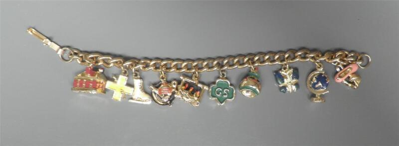 "GIRL SCOUT CHARM BRACELET 10 Charms Trefoil Logo 6.75"" long  Vintage 1950s 1960s"