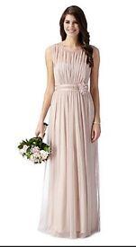 Debenhams Debut Bridesmaid maxi full length dress Rose Pink corsage size 20