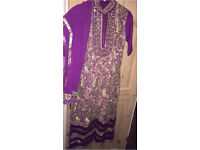 Asian purple and gold embroidered churidar suit