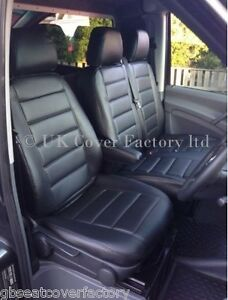 mercedes sprinter van seat covers black quilted pvc leather made to measure ebay. Black Bedroom Furniture Sets. Home Design Ideas