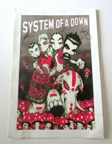 """SYSTEM OF A DOWN FULL BAND AUTOGRAPH POSTER 12X18"""" Mushroomhead"""