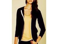 Ladies' Black Hoody Hoodie Sweat Jacket with White Full Length Zip.Size 22.