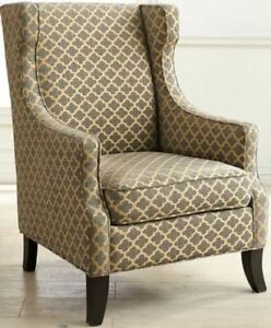 Accent Chair - Gray Trellis Wing Chair
