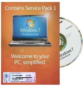 Microsoft Windows 7 Professional 32 Bit W/SP1 and COA License - Free Shipping!