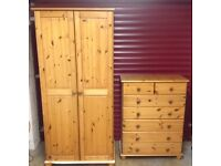 Wardrobe and matching Chest of Drawers - stained solid pine