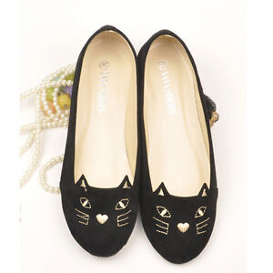 Vogue Cute Kitty Cat Face Womens Shoes Loafers Ballerina Low Heel Comfort Flats