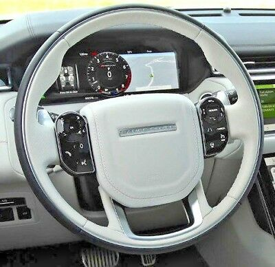 Range Rover Velar Ebony & Acorn Heated Steering Wheel + Horn Pad W/Chrome Ring